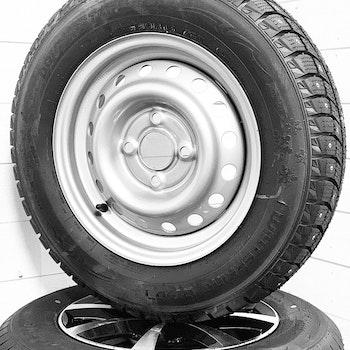 """Hjul med dubbdäck till släpvagn 13"""" 155/80R13"""
