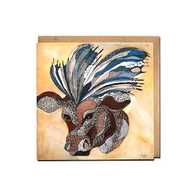 """Kunstkort """"Ku med sommerfugl"""""""