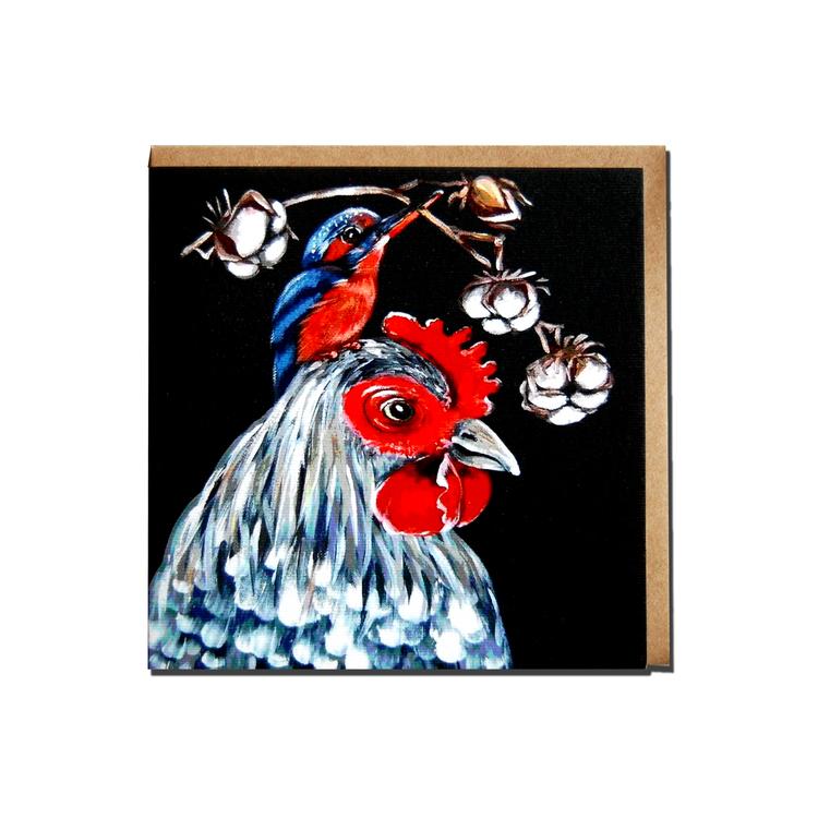 """Kunstkort """"Høne med fugl"""""""