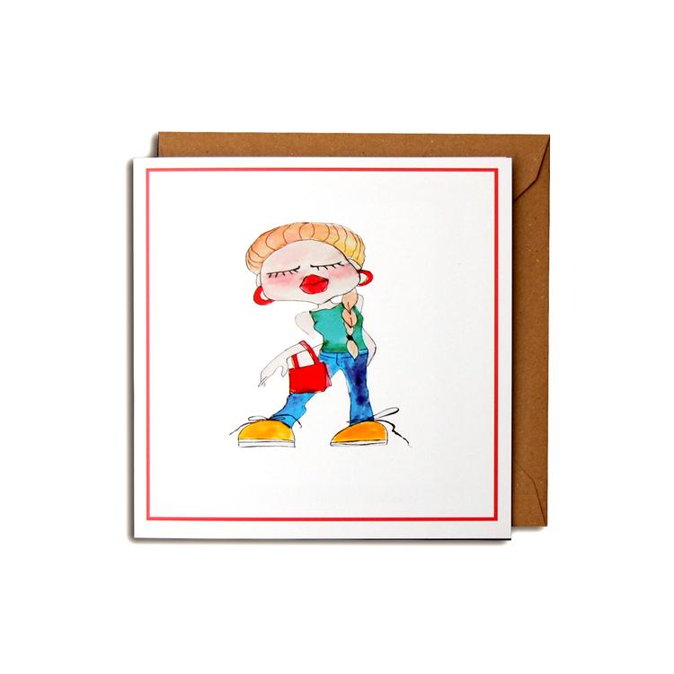 "Kunstkort ""Mote-jente"" #03"