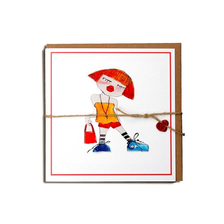 "Kunstkort ""Mote-jente"" #02"
