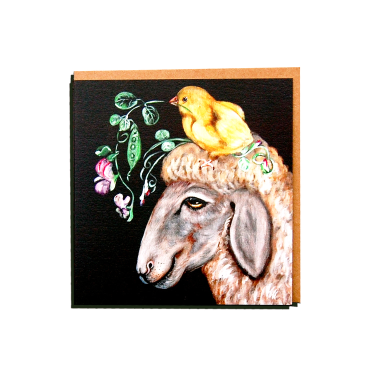 "Kunstkort ""Sau med fugl"""