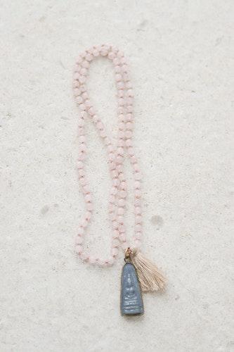 Handknutet Mala Rosenkvarts mediterande Buddha