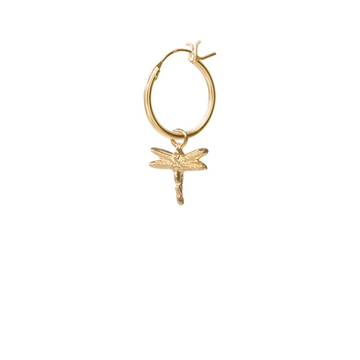 Dragonfly Sterling Silver Gold-Plated Hoop Earring