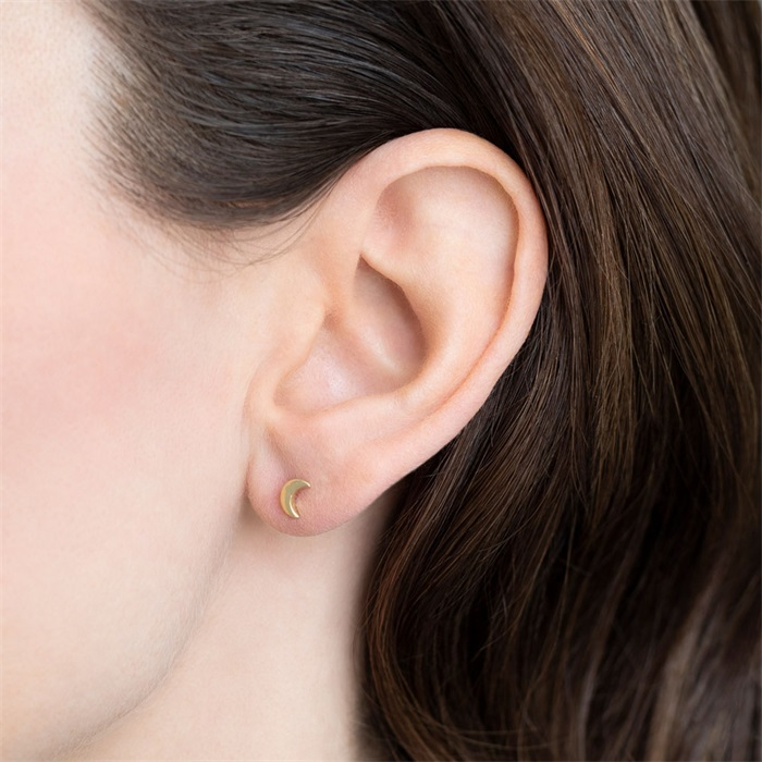 Moon Sterling Silver Gold-Plated Earring