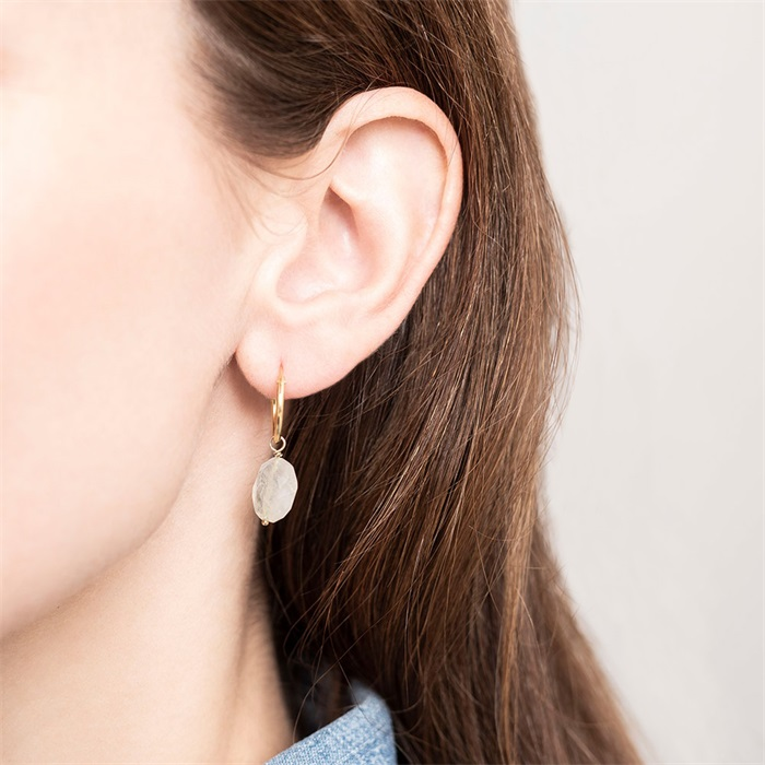Moonstone Sterling Silver Gold-Plated Hoop Earring