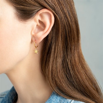 Big Star Sterling Silver Gold- Plated Hoop Earring