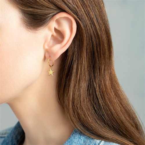 Big Star Sterling Silver Gold- Plated Hoop Earring
