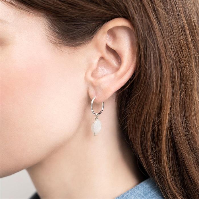 Moonstone Sterling Silver Hoop Earring