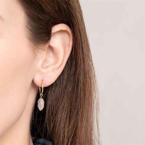 Rose Quartz Sterling Silver Gold-Plated Hoop Earring