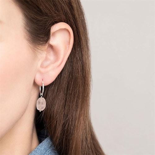 Rose Quartz Sterling Silver Hoop Earring
