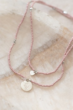 Truly Rose Quartz Hamsa Silver Necklace