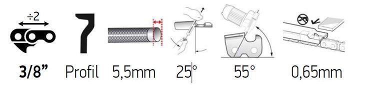 Sågkedja 3/8 1,6mm - PowerCut 70-Series LPX