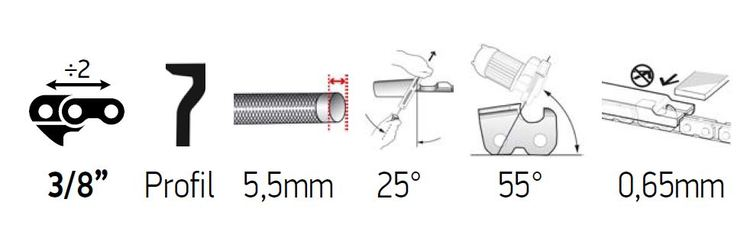 Sågkedja 3/8 1,5mm - DuraCut M70LPX-Series