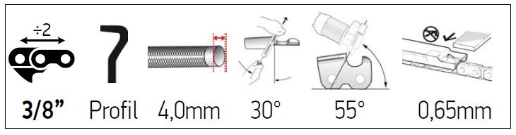 Sågkedja 3/8 Lo pro 1,3mm - DuraCUT M91VXL