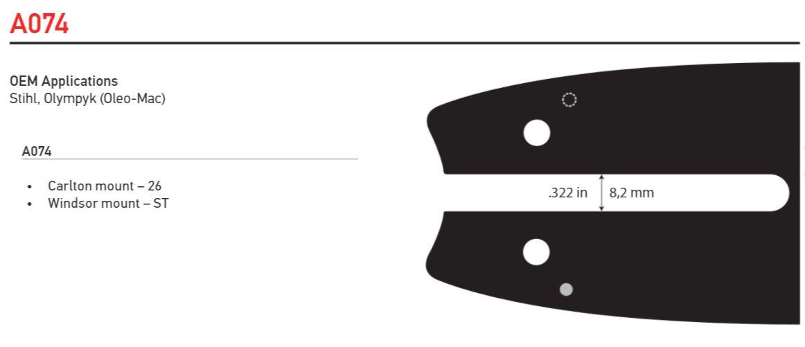 "Svärd 12"" - 14""  3/8 Lo pro 1,1mm A074 - Single Rivet OREGON"