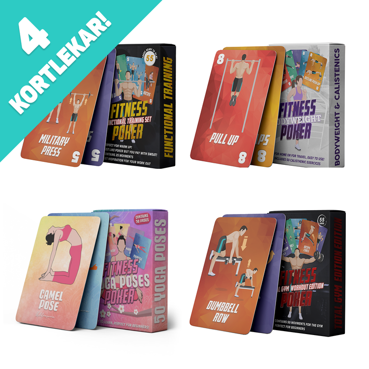 Fitness Poker Bundle - 4 kortlekar