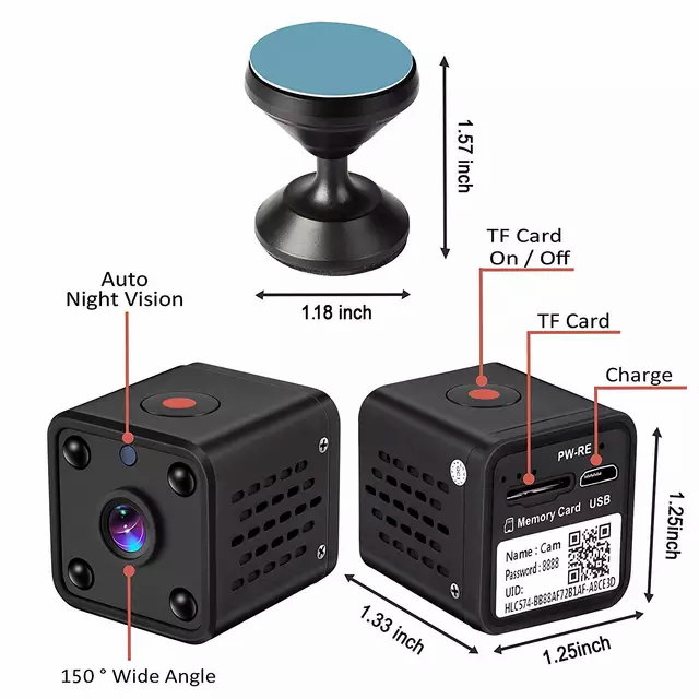 Mini bevakningskamera wifi  nightvision