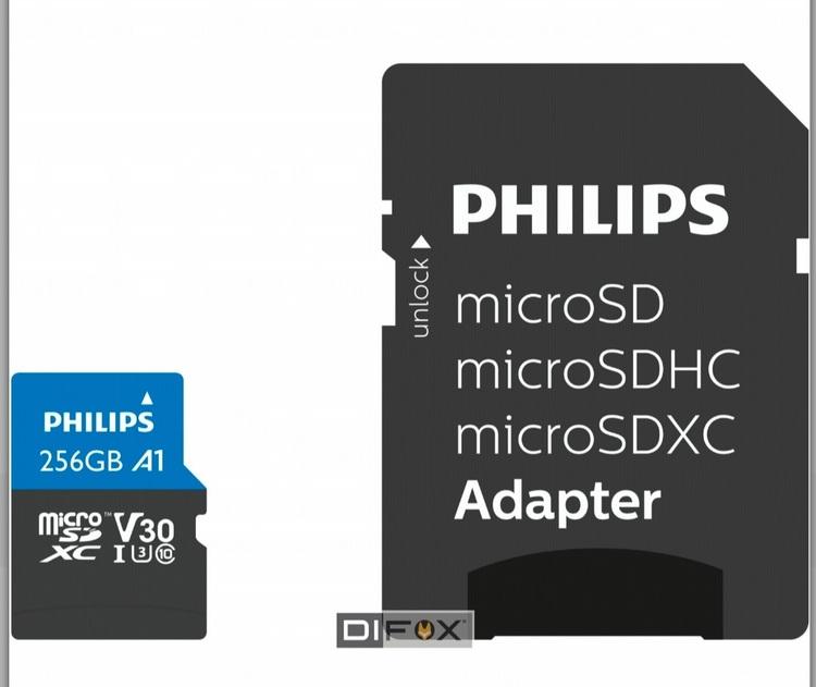 Philips MicroSDXC-kort,256GB med adapter