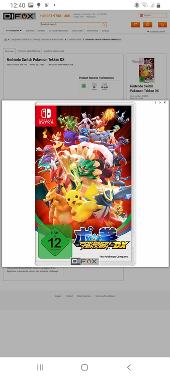Nintendo Switch Pokemon Tekken DX