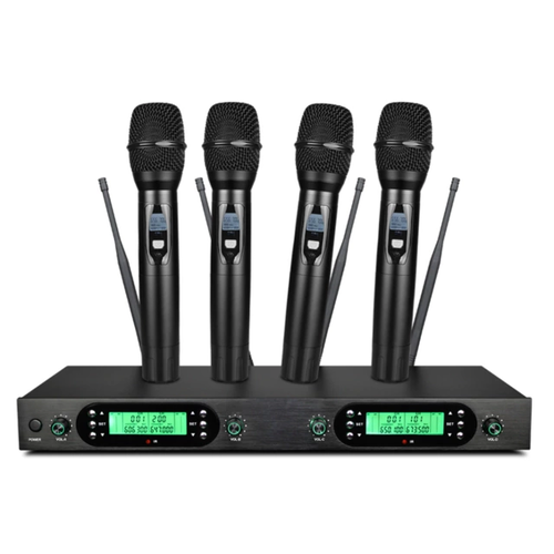 4×50 kanal UHF PLL trådlöst handmikrofon system