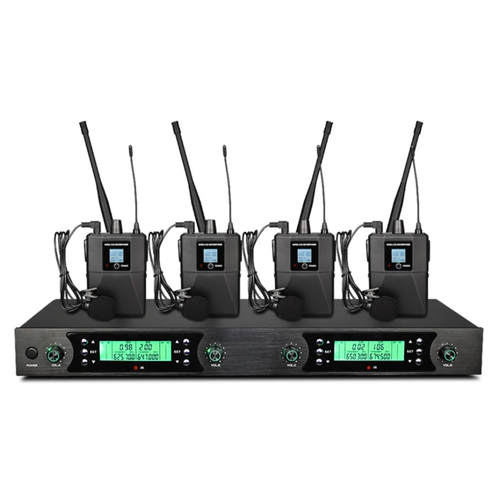 4×50 ksnal PLL trådlöst lavalier mikrofonsystem