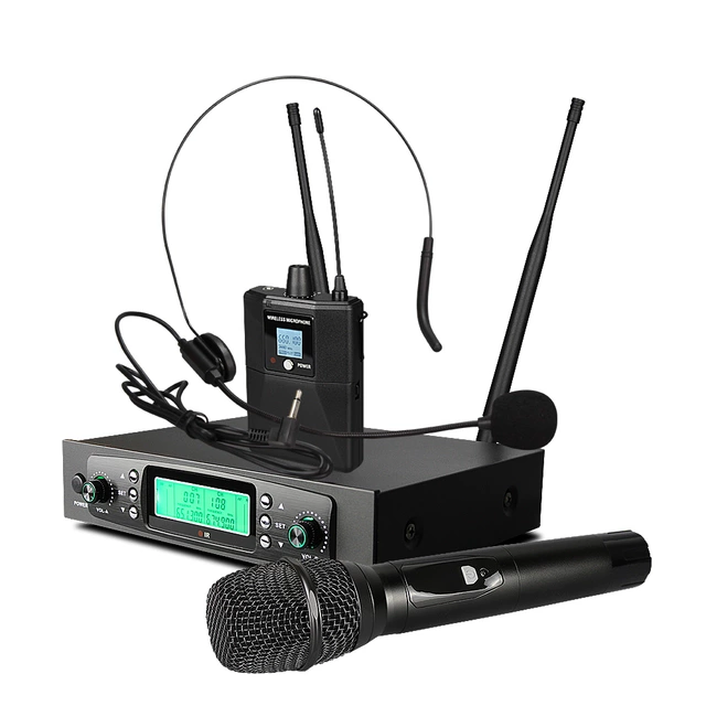 2×50 PLL UHF handmikrofon+ headset mikrofon