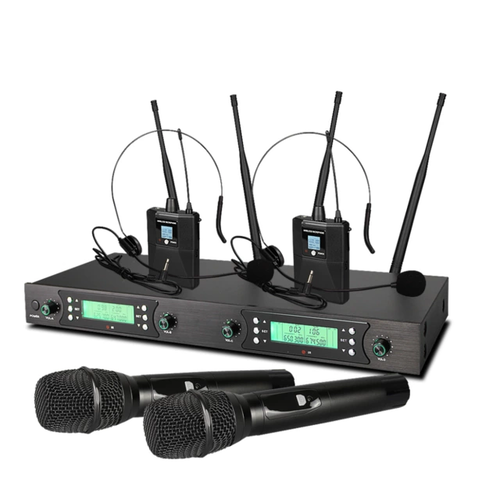 4×50 kanal PLL uhf 2st handmik + 2st headset mik
