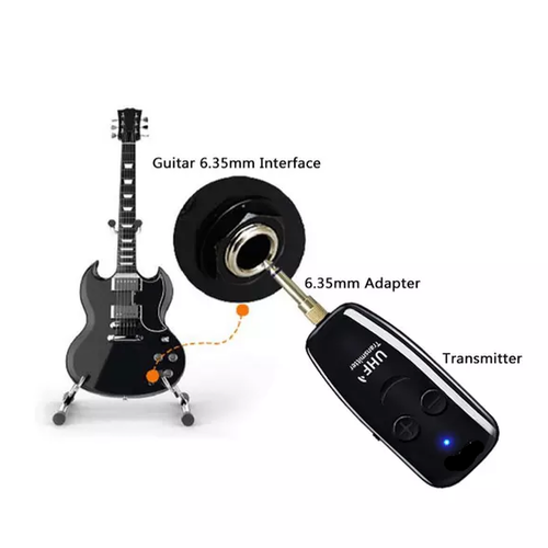 UHF trådlös elgitarr mikrofon svart