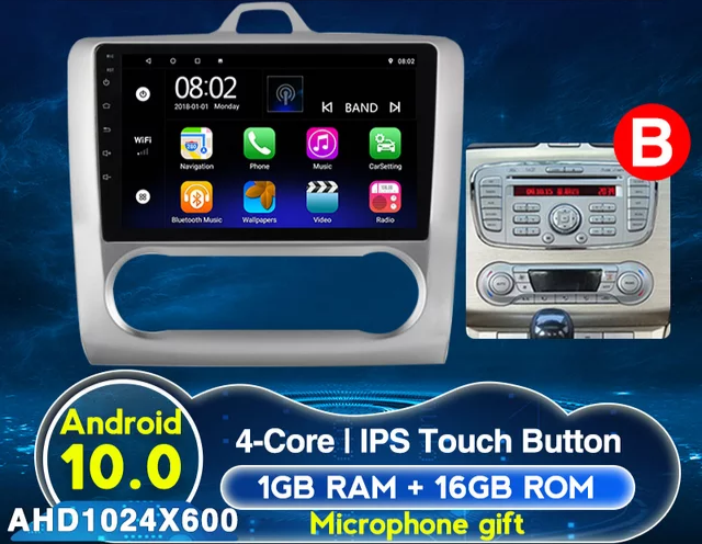 Android 10, bilstereo ,wifi,gps, Ford Focus 2 (2004---2011)