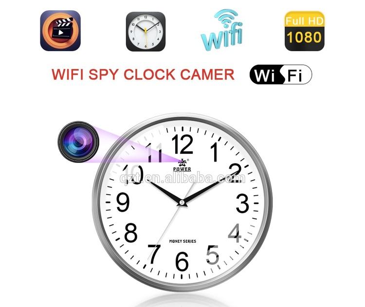 Väggur med wifi,dold dvr kamera med 32GB,direkt på telefon