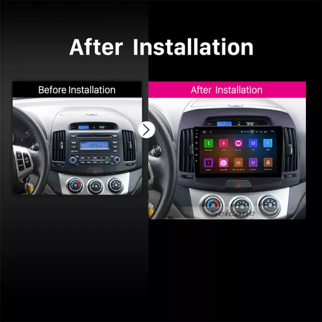 "9"" android  10,bilstereo  Hyundai Elantra (2007---2011) wifi ,GPS,32GB,svart"