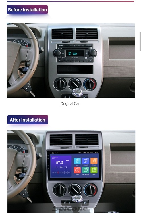 Android 10, bilstereo Jeep compass(2007--2009),gps,wifi