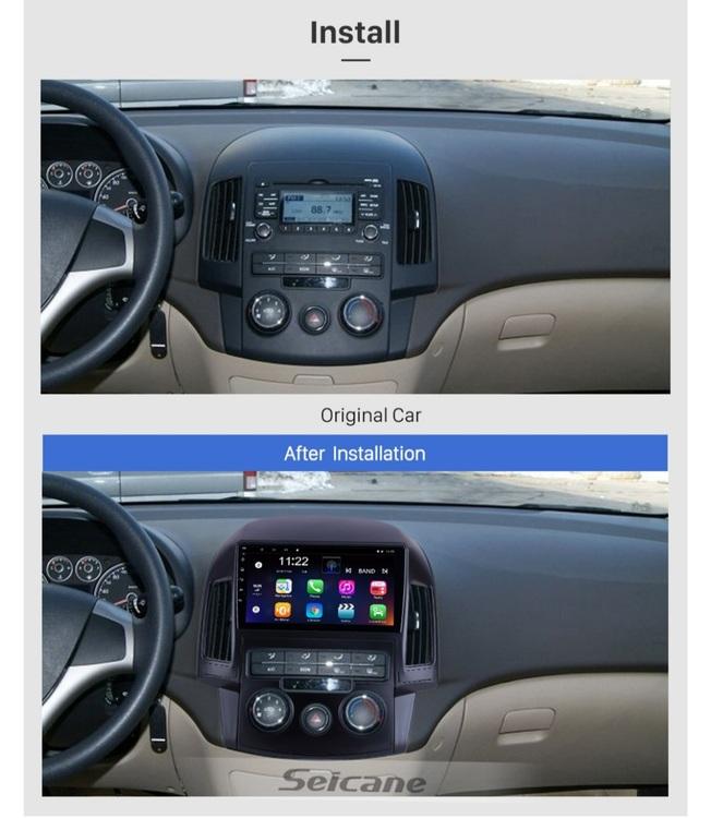 "9""android 10,bilstereo Hyundai i30 manuell A/C (2008--2011) gps, wifi, 32GB, blåtand"
