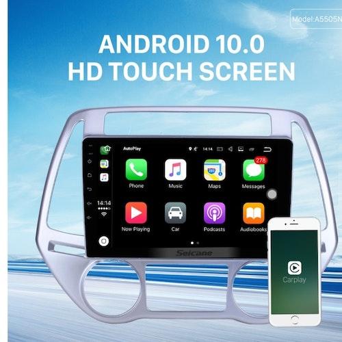 "9""android 10,bilstereo Hyundai i20  automatiskt  A/C (2011--2014) GPS, WIFI, 32GB, Blåtand"