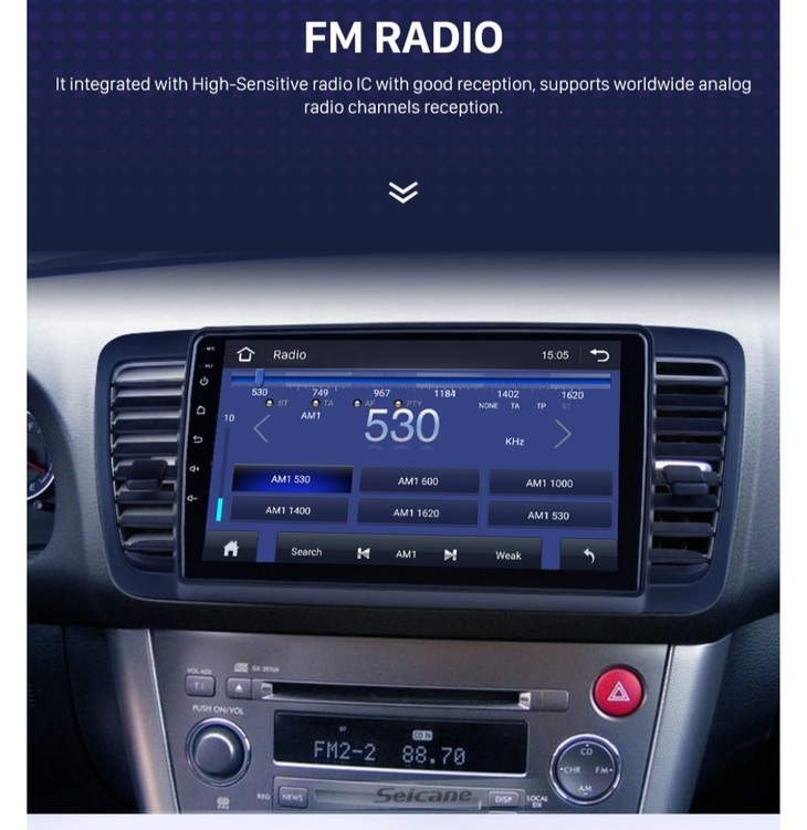"9""android 10,bilstereo Subaru Legacy (2004--2009) gps, wifi, 32GB, blåtand"