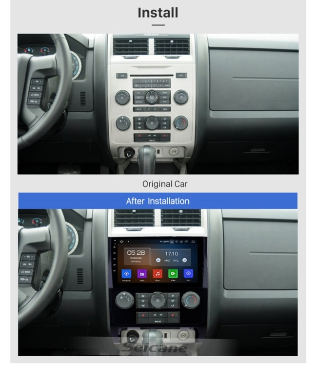 """9""""android 10,bilstereo Ford Escape (2007---2012) gps, wifi, 32GB, blåtand"""