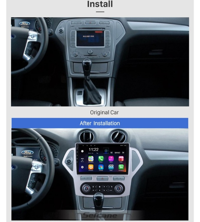 """10,1"""" android 10,bilstereo Ford Mondeo Auto A/C(2007---2010) GPS, wifi, 32GB, blåtand"""