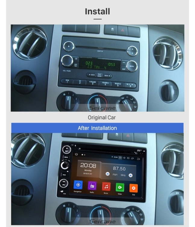 """7"""" android 10 bilstereo Ford Mustang, Edge,Fusion,explorer,expedition(2007--2009) gps, wifi, 32GB, blåtand"""
