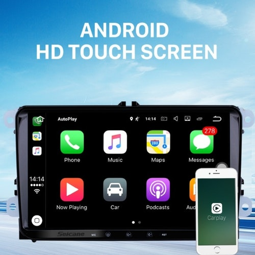 "9"" android 10,bilstereo  vw  Tiguan, Touran,passat,Golf,T5(år 2009) gps, wifi,32GB,Bluetooth"