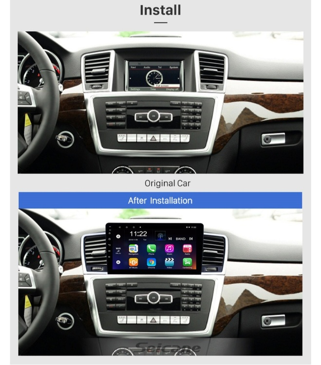 """9""""android 10, bilstereo Mercedes Benz ML (2014--2015) GPS, WIFI, 32GB, blåtand"""