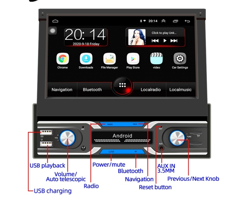 """7"""" android 10,universal  bilstereo  med gps, wifi, 16GB,blåtand, AUX  ingång"""