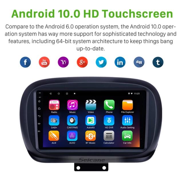 """9""""android 10,bilstereo Fiat 500X ( 2014--2019) GPS ,wifi, 32GB, blåtand"""