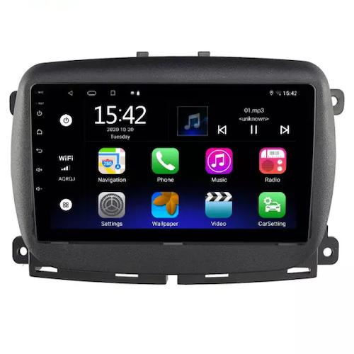 "9""android 10,bilstereo Fiat 500 ( 2015--2021) GPS ,wifi, 32GB, blåtand"