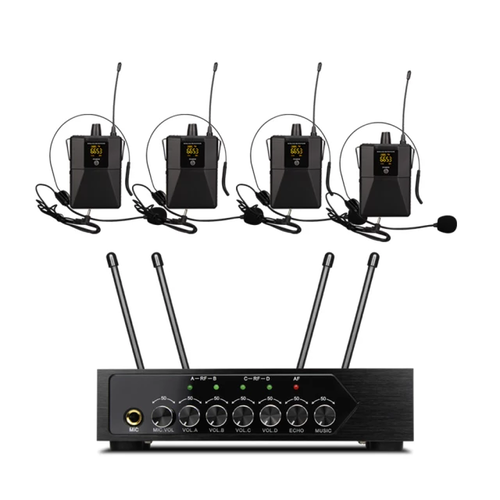 4st UHF  Headset , trådlöst mikrofonsystem