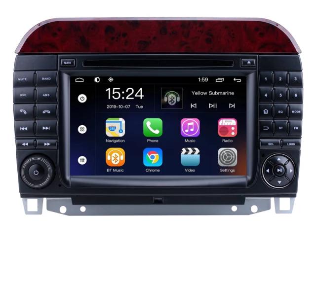 "7"" android 10,bilstereo  Mercedes S klass ,w220/S400cdi/280/s420/S320cdi/S350/S430/S500/S600/S55 AMG/S63 AMG/S65 AMG(1998----2005) gps,wifi, 32GB, blåtand, CarPlay"
