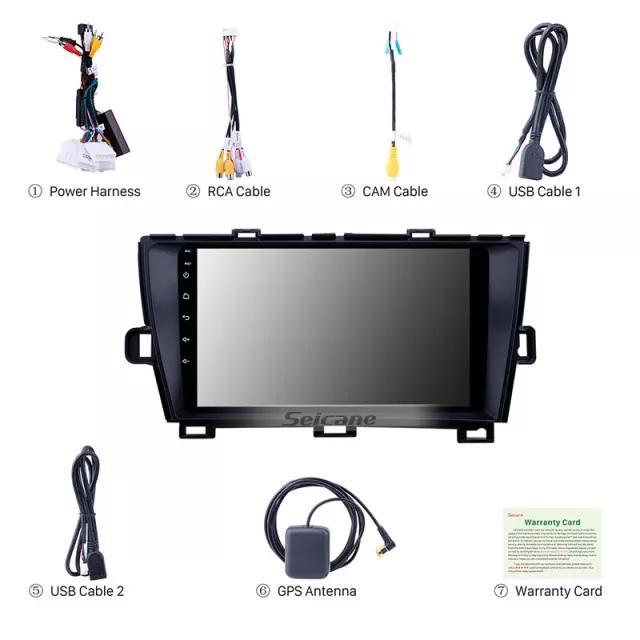 "9""android 10,bilstereo TOYOTA PRIUS (2009--2013) GPS,WIFI, 32GB, blåtand,,carplay"