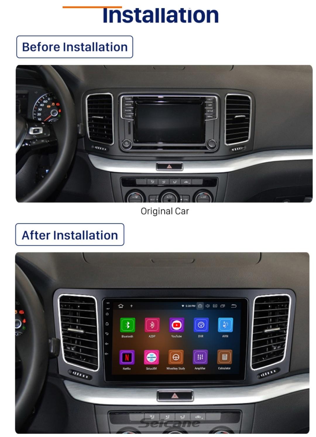 "9""android 10,bilstereo Vw SHARAN (2012--2018) GPS  RDS,WiFi, carplay, blåtand, 32GB"