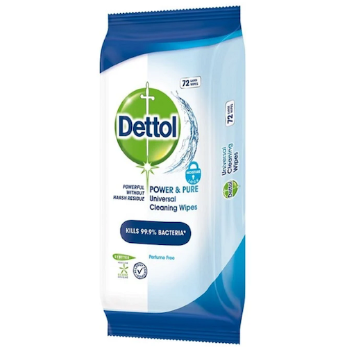 Dettol Power & Pure Universal Disinfection Wipes 72 pcs
