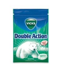 Double Action Sockerfri Halstablett Vicks 72g
